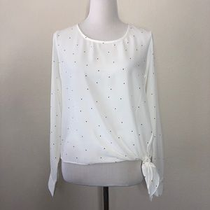 Socialite long sleeve polka dot blouse